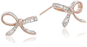 10k Rose Gold Diamond Bow Earrings (.06 cttw, I-J Color, I2-I3 Clarity)  http://electmejewellery.com/jewelry/earrings/diamond-accented/10k-rose-gold-diamond-bow-earrings-06-cttw-ij-color-i2i3-clarity-com/