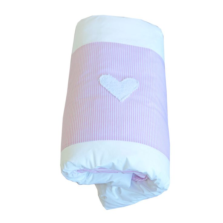 Cot Duvet Cover - Pink/White pinstripe Hearts