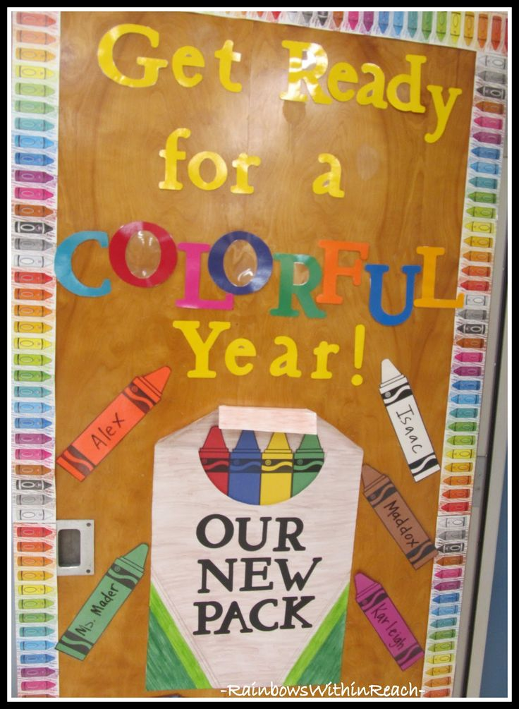 """I love colorful displays, so this crayon classroom door display """"Get Ready for a COLORFUL YEAR!  OUR NEW PACK"""" is an idea I'd love to use.   This idea would also look great as a Back to School bulletin board display."""