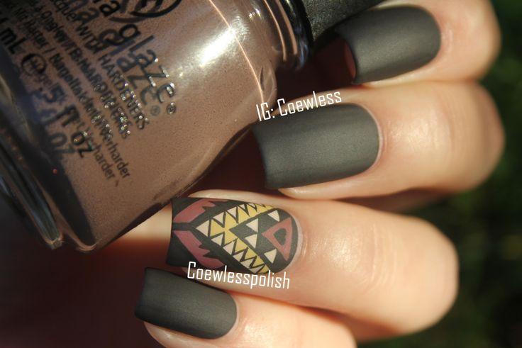 Aztec tribal print nail art, matte