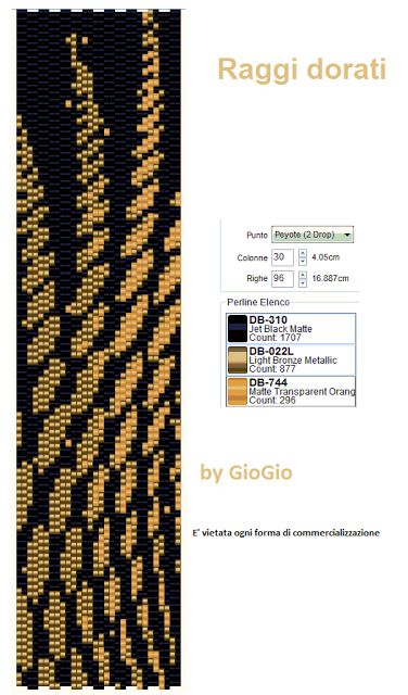 Raggi dorati Peyote Stitch Pattern