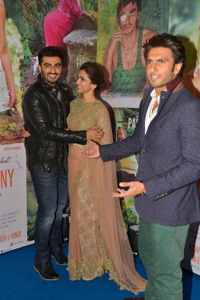 Arjun Kapoor, Deepika Padukone and Ranveer Singh at the success bash of Finding Fanny in Mumbai. #Bollywood #Fashion #Style #Beauty