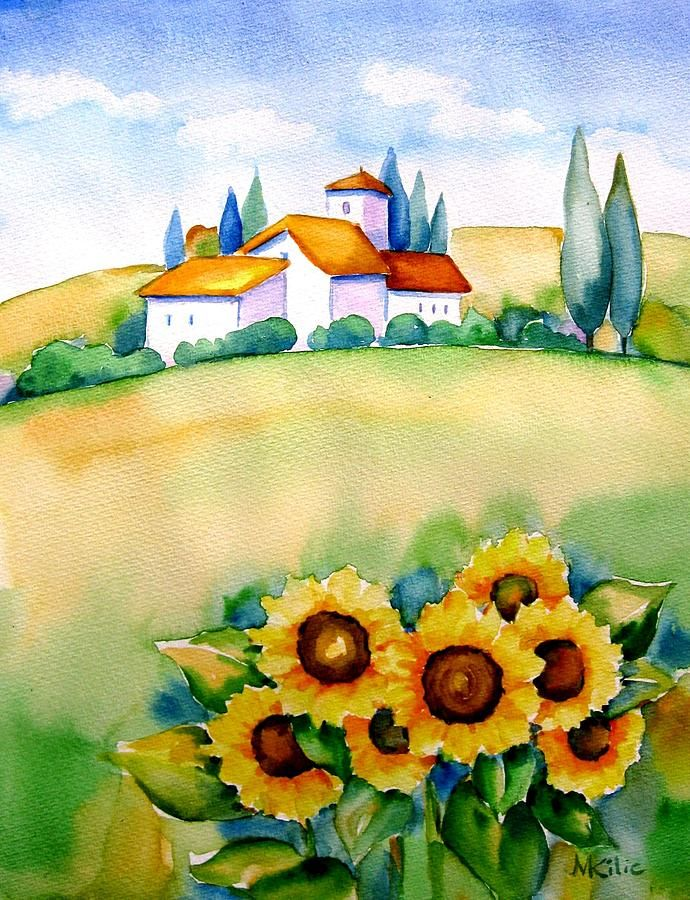 Landscape  Painting - Tuscany With Sun Flowers by Meltem Kilic