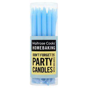 Waitrose Cooks' Homebaking blue party candles & holders - Waitrose
