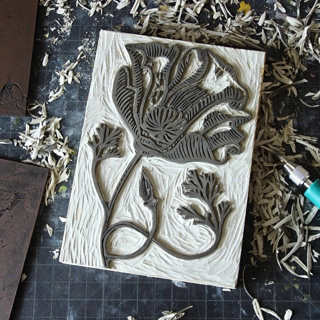 Mike Schulz. Spending my birthday cleaning up older linocut blocks to print editions. So fun, couldn't be happier! #virgo #linocut
