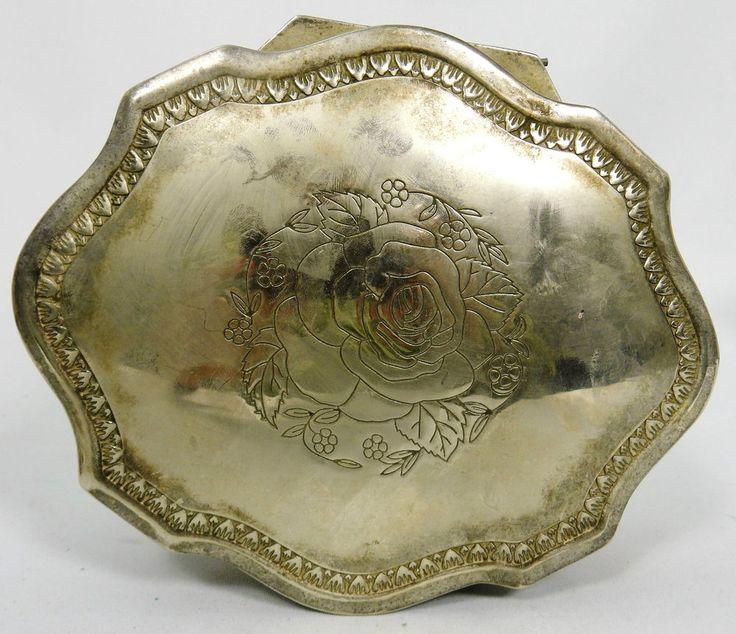 Jewellery Trinket Box Silver Plate Lions Head Roses Red Velvet Vintage
