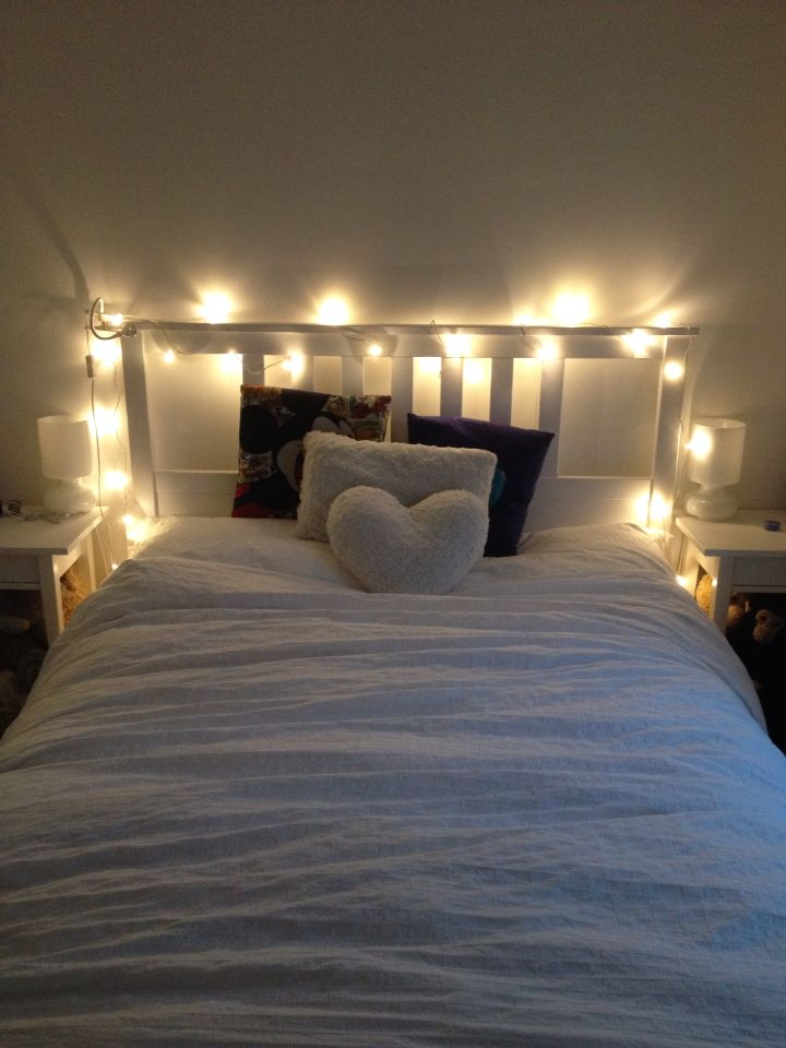 this is my own bed, it was my birthday the other day and I asked for some fairy lights.. I can say I was more than happy when I got these adorable and cute white light ikea lights, they look perfect on top of the bed
