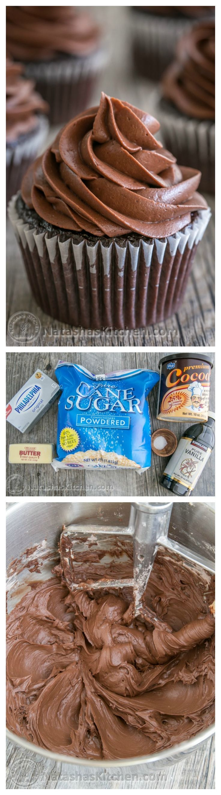 This whipped chocolate cream cheese frosting is easy to make, silky smooth and pipes beautifully. @natashaskitchen