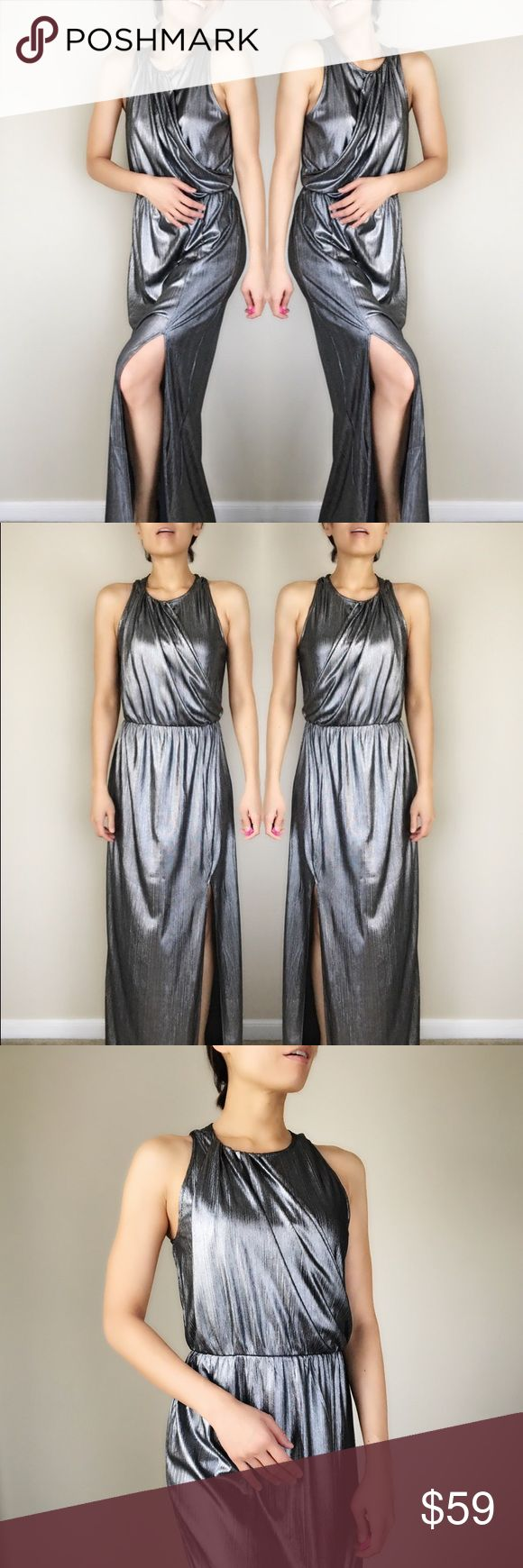 """New York Metallic long dress Elegant classy modern and tasteful metallic long dress with Greek gold. Elastane waist for contouring. Flows drop long dress with open slot on one side. The fold fabric detail complement the body shape very well. The dress is lined inside. Back button. Length58.5"""", bust 16.5"""", waist 13.5."""" All measurement taken flat lay. 96%polyblend with 4%spandex. Lining 100%polyester. All eyes on you type of holiday  gathering event dress. 👉🏼Follow me on  📸INSTAGRAM…"""