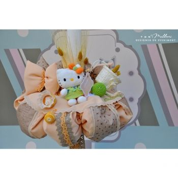 Lumanare de botez Country Kitty pentru fetite,lucrata manual #hellokitty #kidsplaza #botez #kidsfashion #christening #baptism