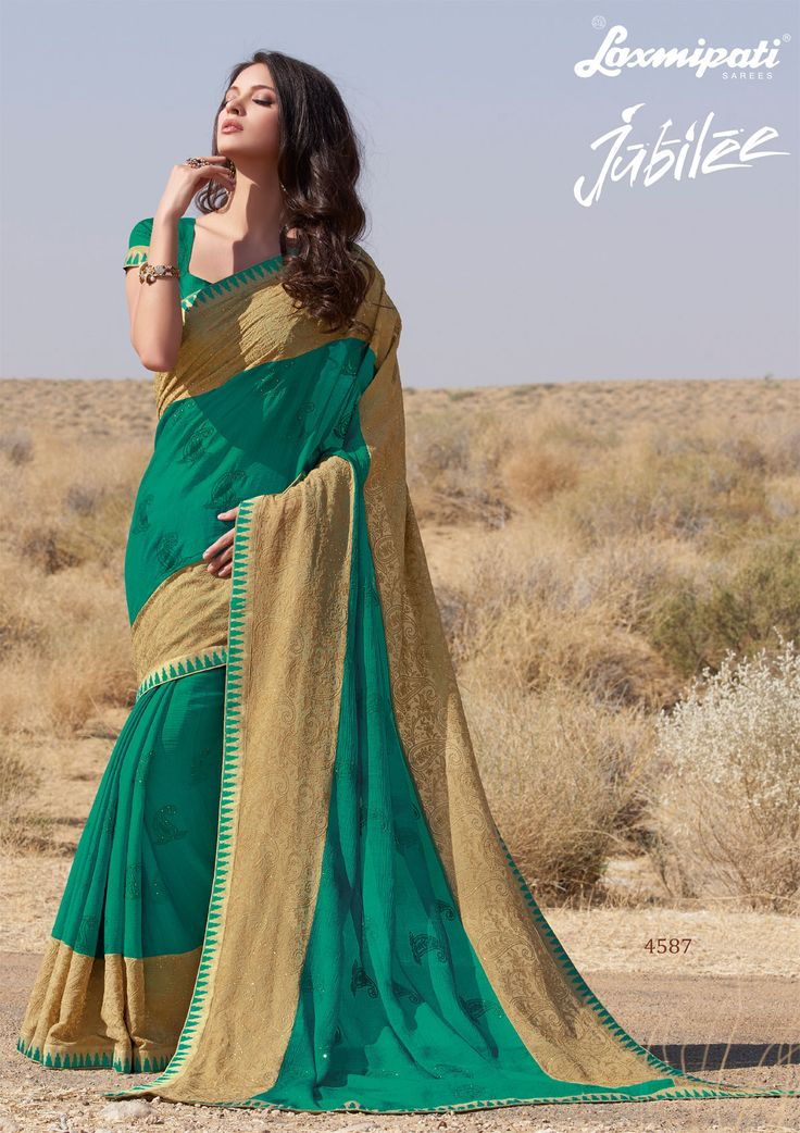 #Laxmipati presents dark green #chiffon #embroidery diamonds work #saree and dark green brocade blouse along with resham work border @ ₹ 3958.00  #Jubilee0417 #Happy #Navratri #Laxmipatisarees
