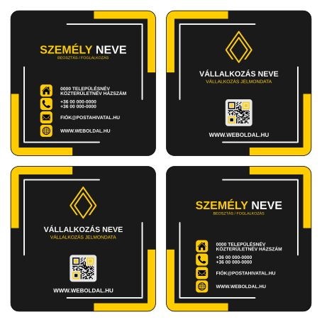 Üzleti névjegykártya másként  (ABC - Another Business Card) tervek (Inkscape - SVG formátum) Okker / Fekete