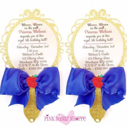 Snow White Invitation - Snow White Party - Mirror Invitation - Snow White Theme - Snow White Birthday www.lovepinksugarshoppe.com