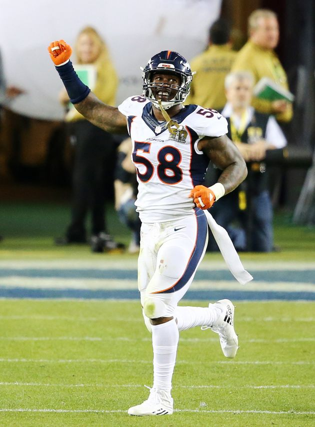 Broncos Defense Stymies Panthers, Denver Wins Super Bowl 50:    Von Miller of the Denver Broncos reacts after a play against the Carolina Panthers during Super Bowl 50 at Levi's Stadium on February 7, 2016 in Santa Clara, Calif. (Photo by Maddie Meyer/Getty Images)