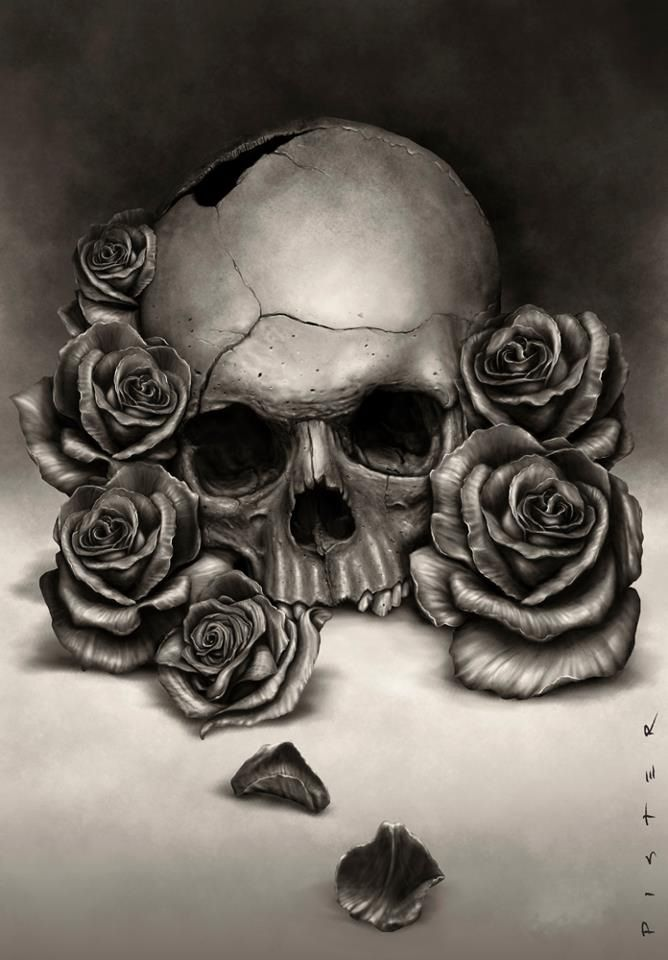 nice tattoo possibility.... if I didnt already have loads of skulls and roses!