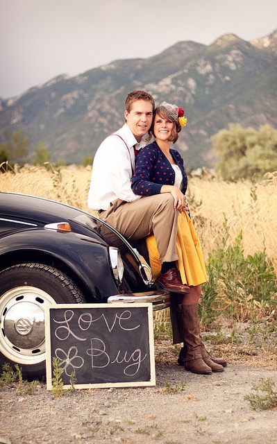 Love Bug VW Beetle engagement picture