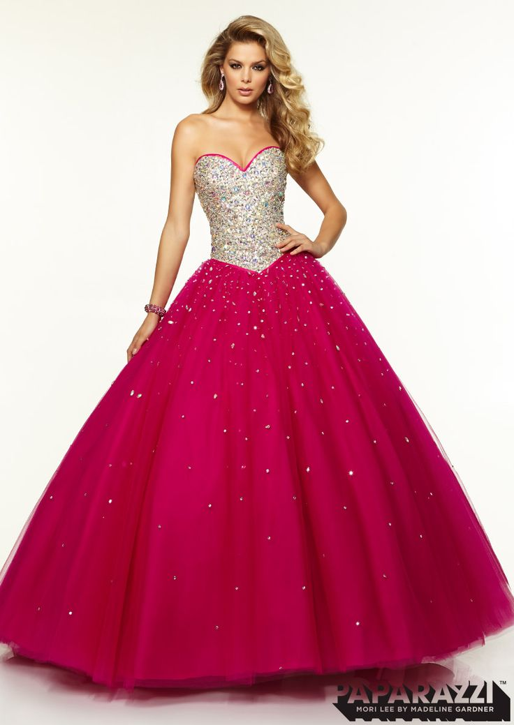 Jeweled Beaded Bodice with Satin Trim on Tulle Ballgown