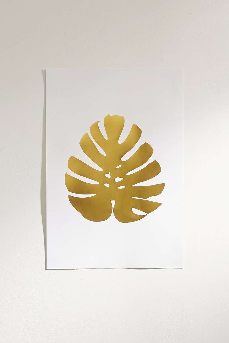 Elsie Von Craft Gold Foil Monstera Leaf Art Print