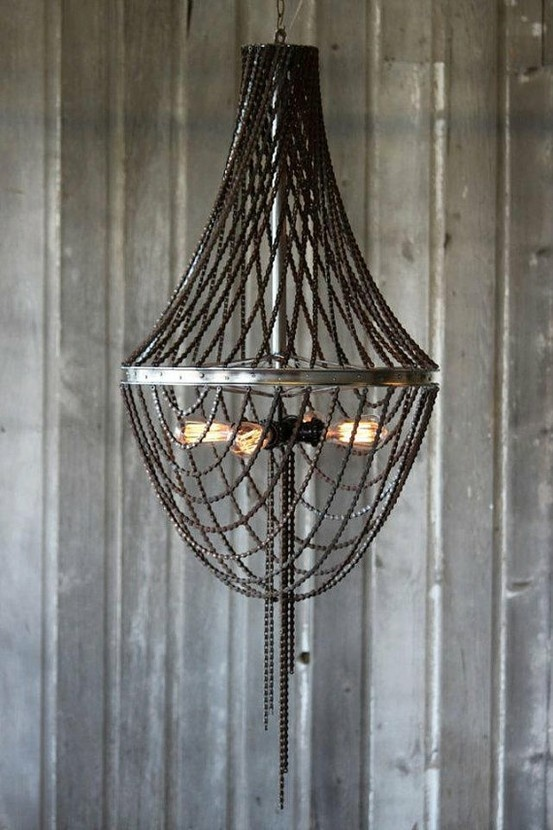 Chandelier made out of bicycle parts