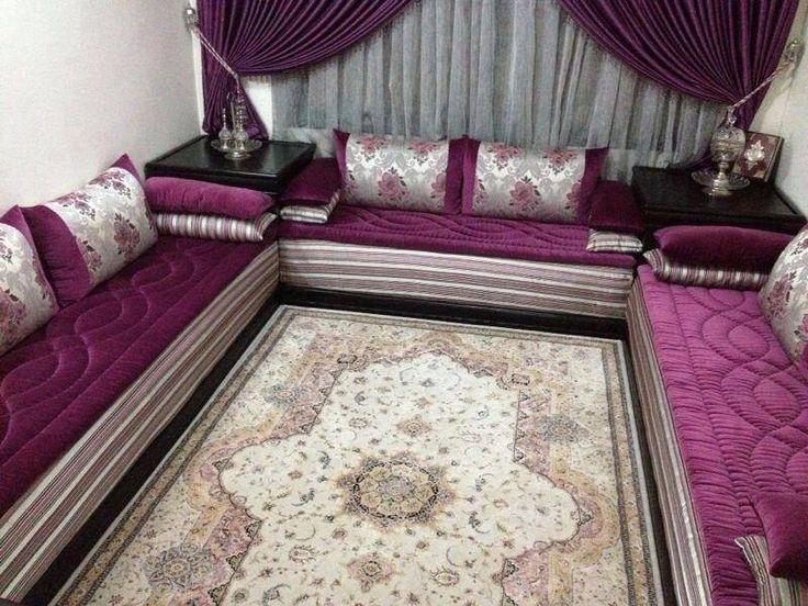 salon marocain en velours mobra - Decoration Triate Du Salon Beldi