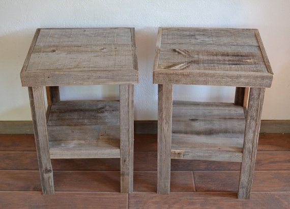Reclaimed brown barnwood end tables. Simple and beautiful accent to your home!    24 tall  17  wide by 17  deep    Perfect for any room in the house!    Made in the USA and ready to ship.  US ground shipping included    See more eco friendly products in our shop:  http://www.etsy.com/shop/barnwood4u?ref=si_shop    Call us or convo us  Jim 1-505-264-1918  7am-9pm Mountain time  #0811a/b