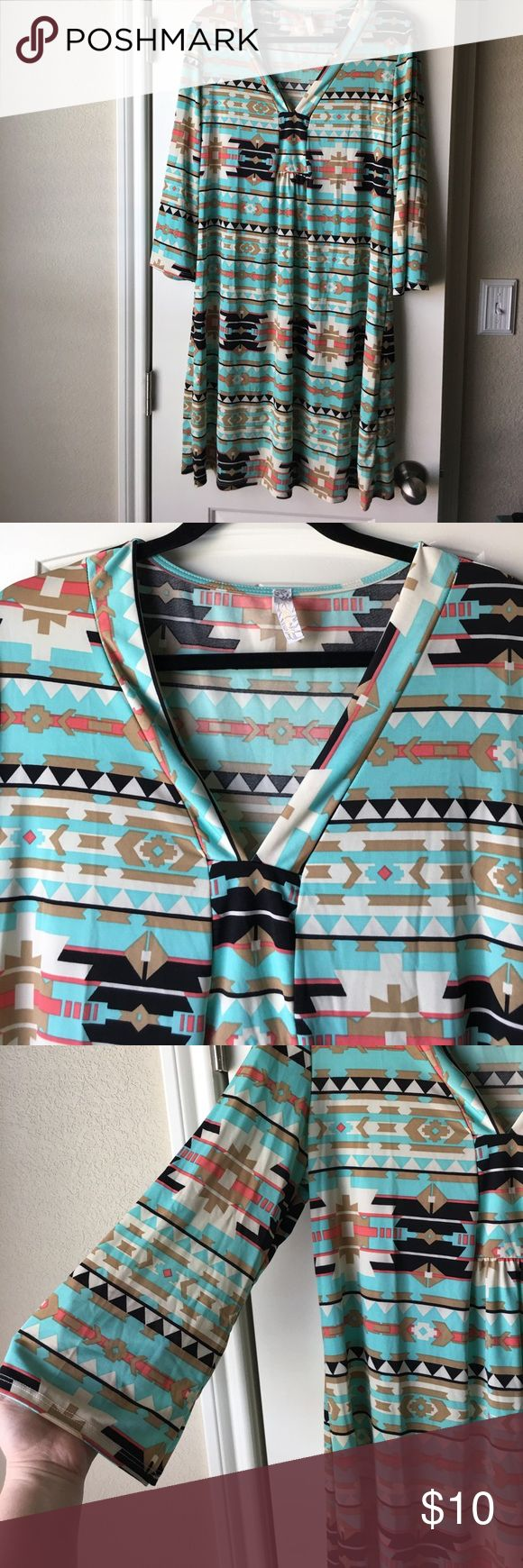 Aztec Print Dress Size XL Aztec print dress. Super soft!! Never worn! Dresses