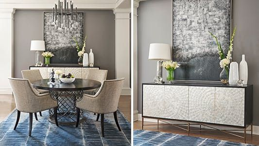 When you have such a beautiful space to entertain in, it will always be a show-stopping meal. Available at Walter E. Smithe Furniture + Design, customized for your space.
