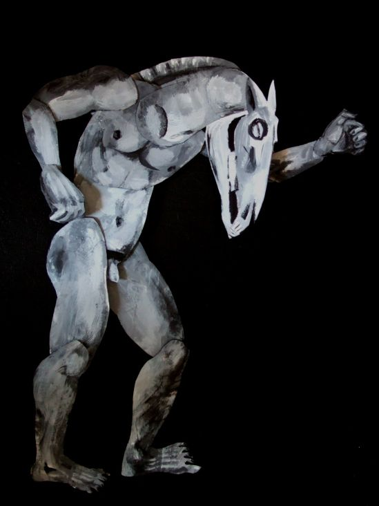 Maquette by Clive Hicks-Jenkins made in preparation for the Old Stile Press illustrated edition of 'Equus'