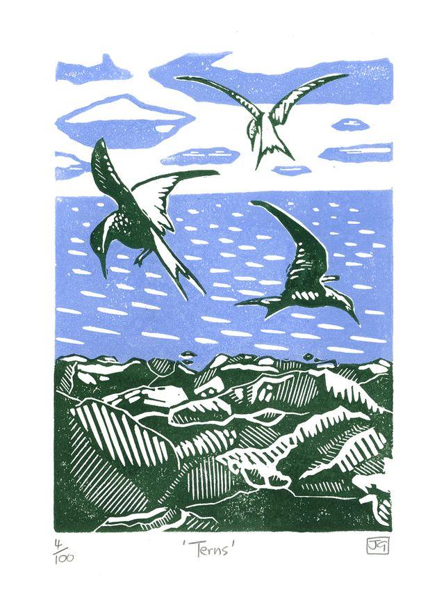 Terns linocut print £22.00