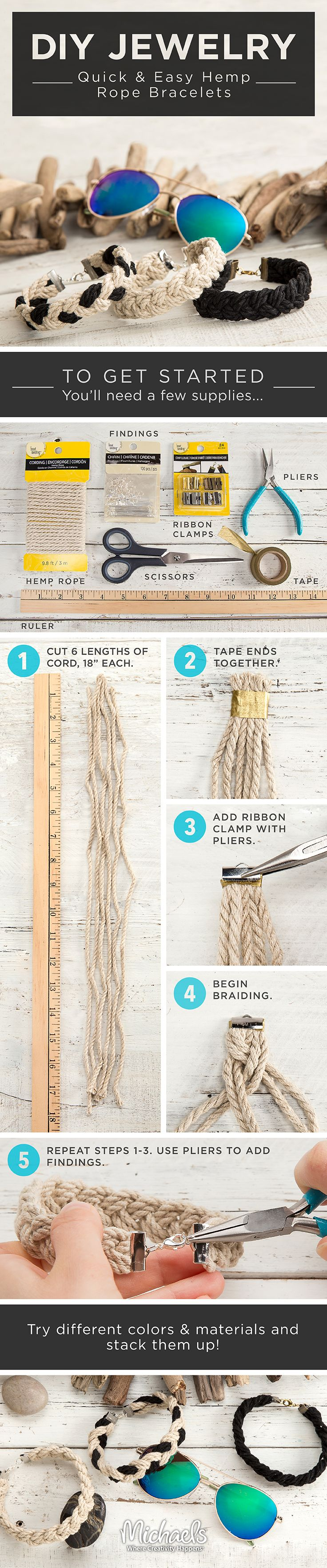Create quick and easy DIY hemp rope bracelets