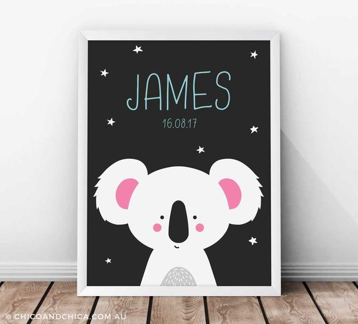 Personalised Australian Animals - Koala - Kids Print - Chico & Chica