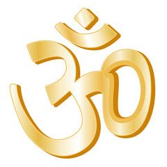 Hinduism Symbol, golden icon of Hindu faith