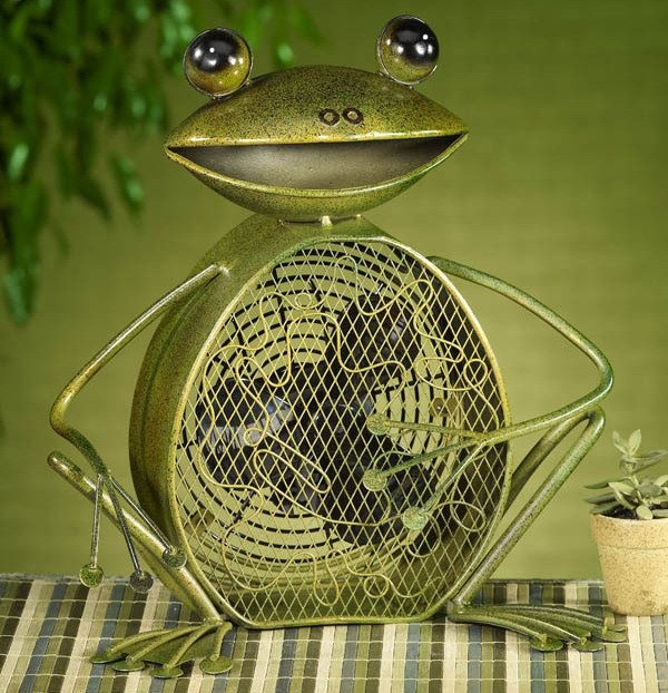 Deco Breeze Home Decor Decorative Accent Figurine Fan   Frog Shape