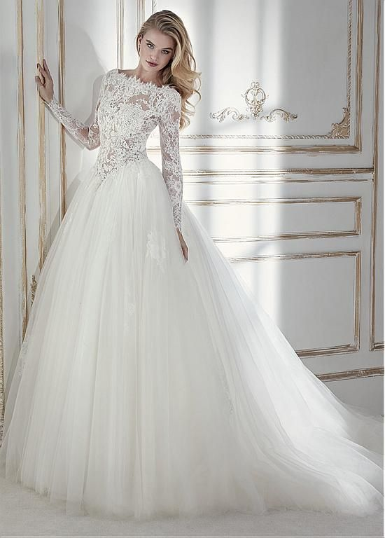 Magbridal Chic Tulle & Lace Bateau Neckline See-through Bodice A-line Wedding Dress With Lace Appliques