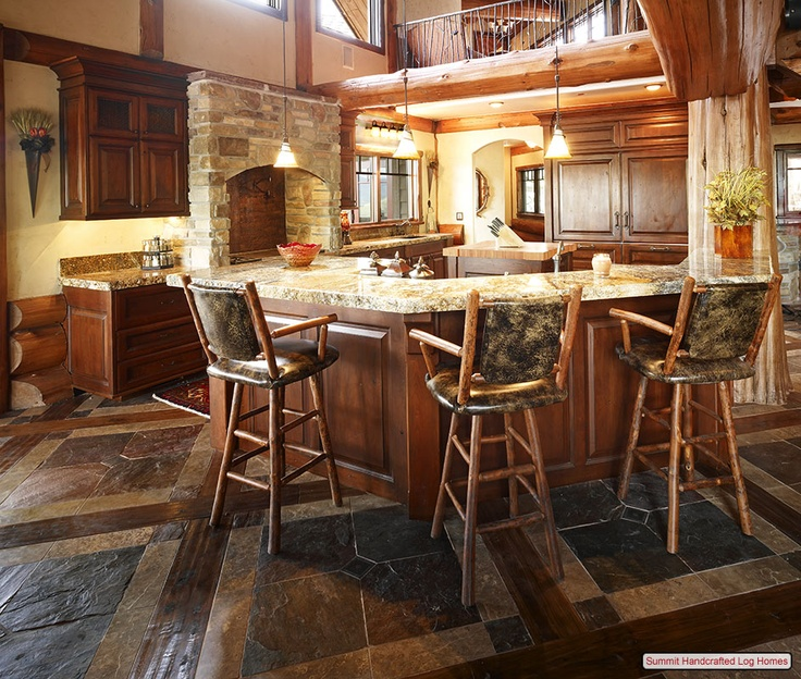 39 best log cabin images on pinterest bathroom for Unusual kitchen flooring