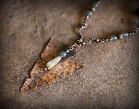 Tribal Arrowhead Necklace Copper Spear Necklace Tribal by Triballa