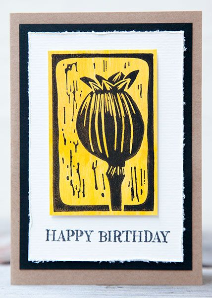 Card by Rachel Greig using Darkroom Door Carved Pods Rubber Stamps and Happy Birthday Rubber Stamps.
