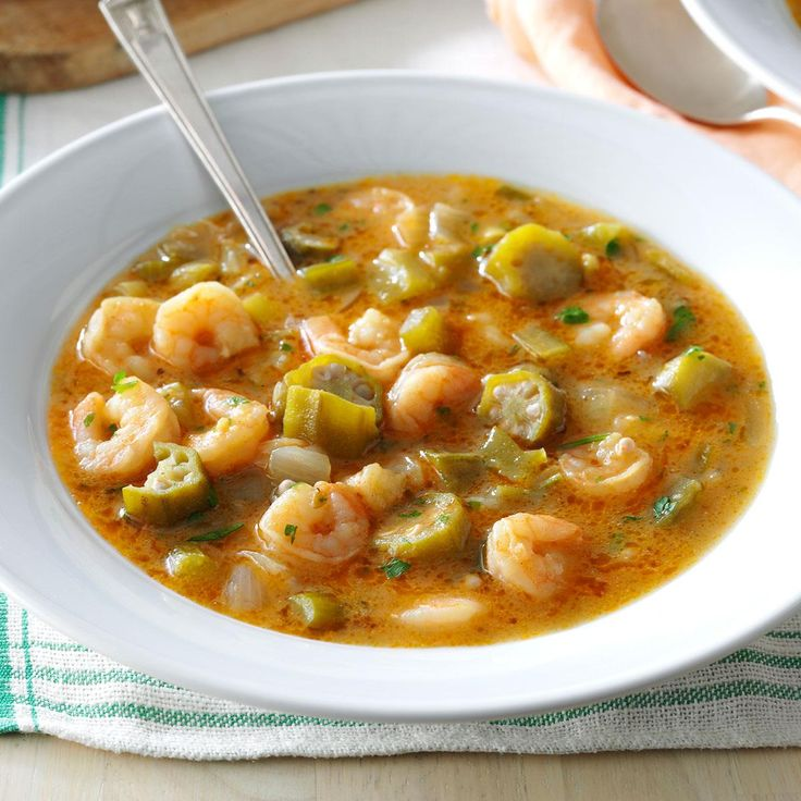 Seafood Gumbo Recipe -Gumbo is one of dishes that helped make the Creole-Cajun cuisine of Louisiana so famous. We live across the border in Texas and can't get enough of this traditional Cajun version. This recipe calls for seafood, but you could also use chicken, duck or sausage. —Ruth Aubey, San Antonio, Texas