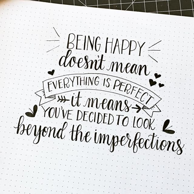 Happy is the word in today's #QuotedApril2016 by @onicahanby - there is something about this quote that really spoke time. As a recovering perfectionist, I need to sometimes look beyond those little imperfections. #type #brushtype #penandink #handfont #moderncalligraphy #calligraphy #brushcalligraphy #handwriting #brushlettering #handlettering #lettering #dndchallenge #togetherweletter #rockyourhandwriting #bujo #bulletjournal #bulletjournaljunkies