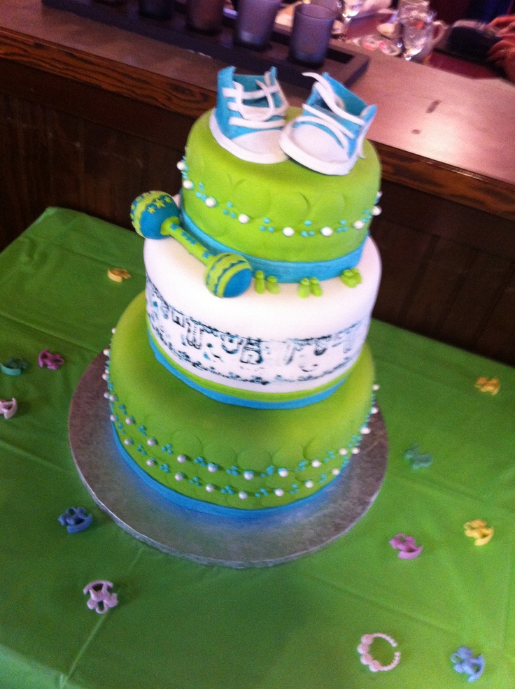 Elegant Lime Green And Blue Baby Shower Cake