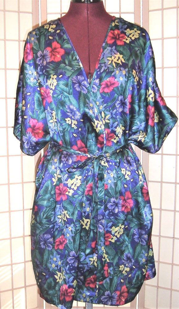Cabernet Sz S Silky Satin Floral Sleep Lingerie Belted Robe W  Pockets   Cabernet  Robes  Everyday 7e797ba02