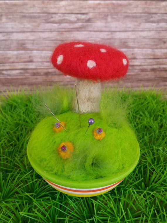 Felted Pincushion /decorative mushroom by HappyFeltingHour on Etsy