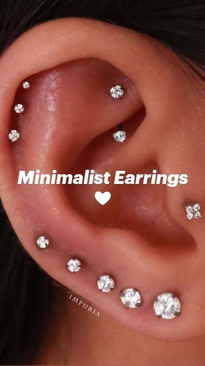 Cute Piercings, Daith Piercing, Cartilage Earrings, Tragus, Ear Jewelry, Minimalist Earrings, Conch, Diamond Earrings, Piercing Ideas