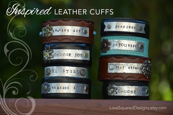 Personalized leather cuff bracelet, custom metal stamped cuff, Classic Leather cuff, Inspired leather cuff. Love Squared Designs