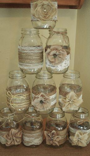 Set of 10 Mason Jar Sleeves, Burlap Wedding Decorations, Rustic Wedding Centerpieces, Burlap and Lace Wedding Jars by RusticWithElegance on Etsy https://www.etsy.com/listing/247212267/set-of-10-mason-jar-sleeves-burlap