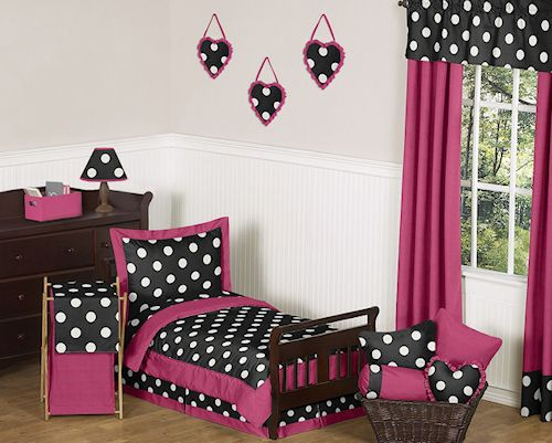 black white pink polka dot toddler girl bedding bed in a bag comforter u0026 sheet set bedroom comforter setsgirl
