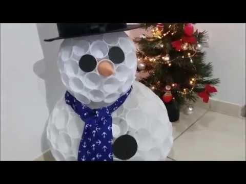 Boneco de neve copos descartáveis - YouTube