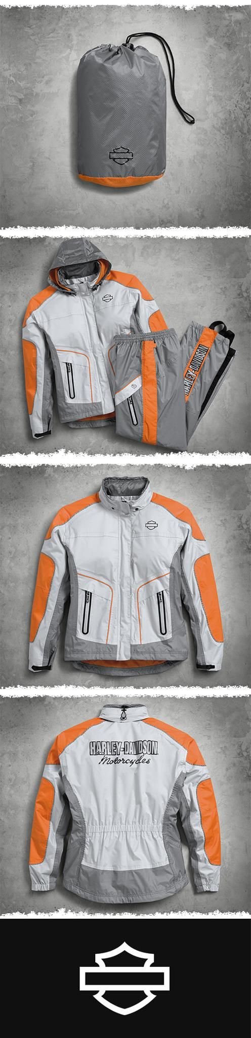Whether it's a mist or monsoon, this mesh-lined rain suit meets our extremely high standards for being waterproof and breathable. | Harley-Davidson Women's Midpoint Colorblock Rain Suit