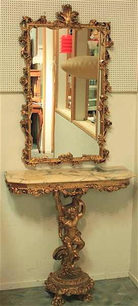 Antique Swedish Rococo Carved Gilt Mirror And Cherub Console Table