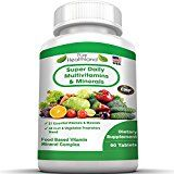 Super Daily Multivitamin for Men Women Over 40 50 60 and Seniors. Best Food Based Natural Multivitamins Supplement With 21 Vitamins And Minerals Plus Proprietary Blend of 42 Fruit Vegetable Super Foods Reviews